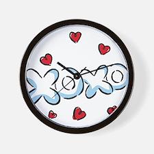 XOXO with Hearts Wall Clock