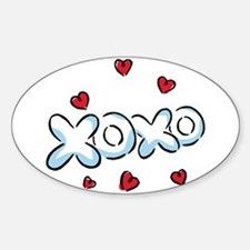 XOXO with Hearts Oval Decal