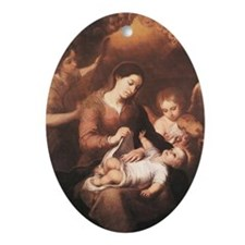 Mary and Child with Angels Playing M Oval Ornament