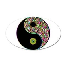 Yin Yang Symbol Psychedelic Colors Wall Decal