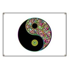 Yin Yang Symbol Psychedelic Colors Banner