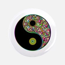 """Yin Yang Symbol Psychedelic Colors 3.5"""" Button"""