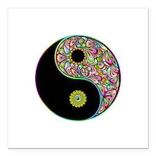 Yin Yang Symbol Psychedelic Colors Square Car Magn