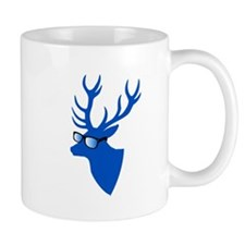 Blue Christmas deer with nerd glasses Mugs