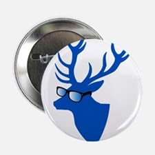"""Blue Christmas deer with nerd glasses 2.25"""" Button"""