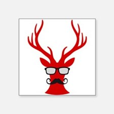 Red Christmas deer with mustache and nerd glasses
