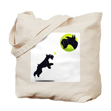 Tote Bag one side head and jump for ball then...