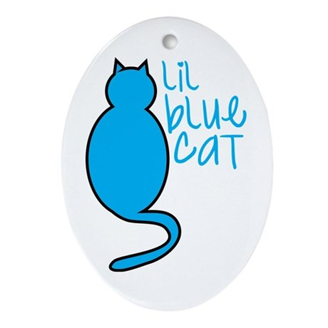 Lil blue cat Oval Ornament