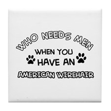 Cool American wirehair designs Tile Coaster