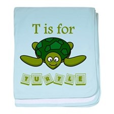 T Is For Turtle baby blanket