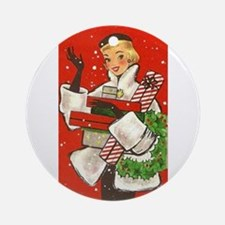Vintage lady shoppping Ornament (Round)