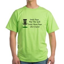 Drink Beer Play Disc Golf Life Green Shirt