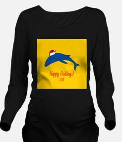 Whale Holiday Long Sleeve Maternity T-Shirt