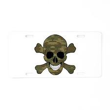 Camouflage Skull And Cross Bones Aluminum License