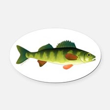 Yellow perch 2 Oval Car Magnet