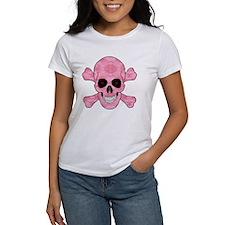 Pink Camouflage Skull And Cross Bones T-Shirt