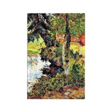 Gauguin - Red Roof by the Water Rectangle Magnet