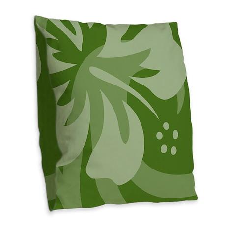Hibiscus Dark Green Burlap Throw Pillow