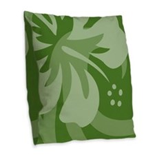 Hibiscus Dark Green Burlap Throw Pillow