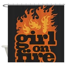 Flames Girl on Fire Shower Curtain