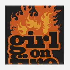 Flames Girl on Fire Tile Coaster