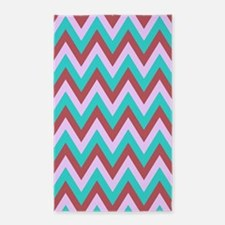 Red,lavender and turquoise chevrons 3'x5' Area Rug