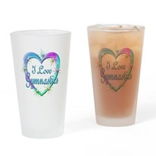 I Love Gymnastics Drinking Glass