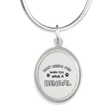 Cool Bengal designs Silver Oval Necklace