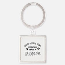 Cool Bengal designs Square Keychain