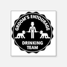 """Groom's Entourage – Drinkin Square Sticker 3"""" x 3"""""""