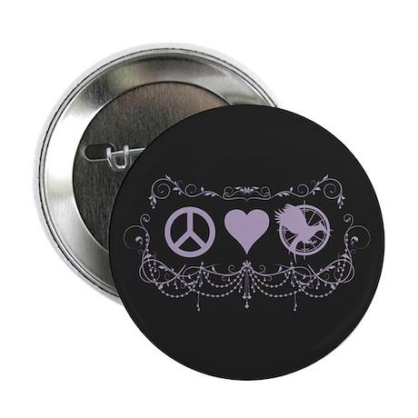 "Purple Peace Love Mockingjay 2.25"" Button (100 pac"