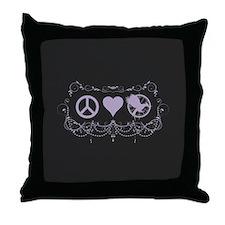 Purple Peace Love Mockingjay Throw Pillow