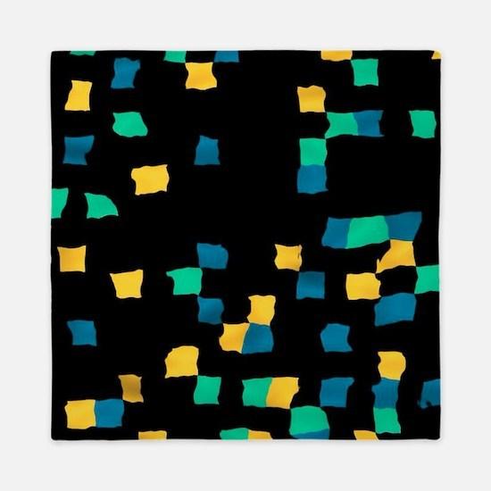 abstract pixel yellow, green Queen Duvet