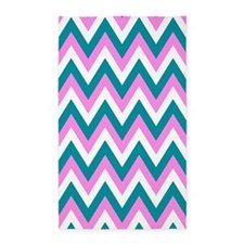 Pink, white and teal chevrons 3'x5' Area Rug