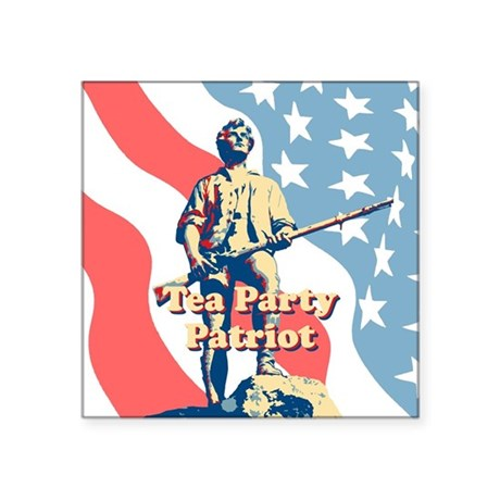 "Tea Party Patriot Square Sticker 3"" x 3"""