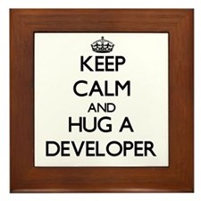 Keep Calm and Hug a Developer Framed Tile