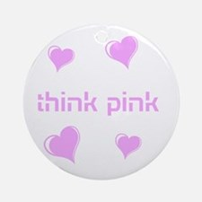 think pink, hearts Ornament (Round)