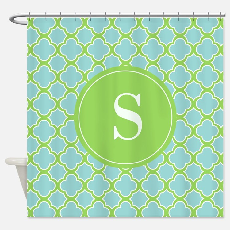 Quatrefoil Aqua Blue Green with Monogram Shower Cu