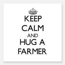 "Keep Calm and Hug a Farmer Square Car Magnet 3"" x"