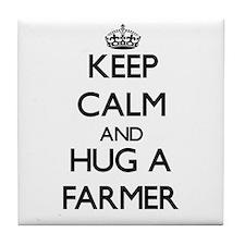 Keep Calm and Hug a Farmer Tile Coaster