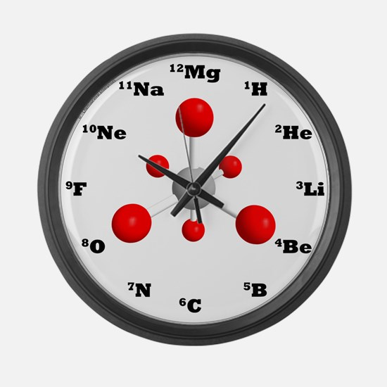 Molecule Clock - Newman Red Large Wall Clock