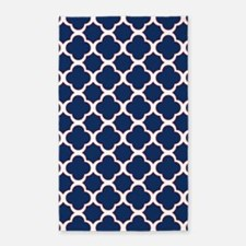 Quatrefoil Pattern Navy Blue White and Red 3'x5' A