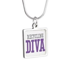Recycling DIVA Silver Square Necklace