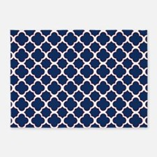 Quatrefoil Pattern Navy Blue White and Red 5'x7'Ar
