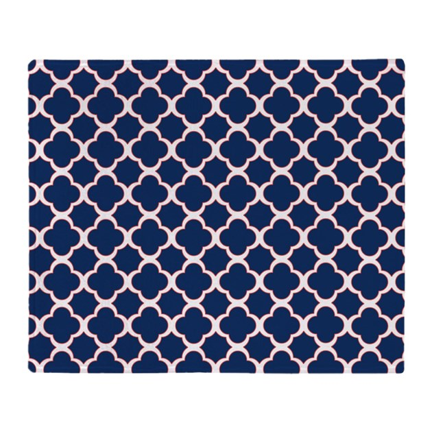 Quatrefoil Pattern Navy Blue White and Red Throw B by ...