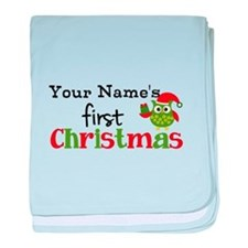 Custom Name 1st Christmas Owl baby blanket