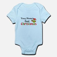Custom Name 1st Christmas Owl Infant Bodysuit