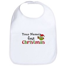 Custom Name 1st Christmas Owl Bib