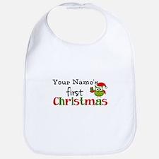 Custom Name 1st Christmas Owl Bib