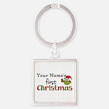 Custom Name 1st Christmas Owl Square Keychain